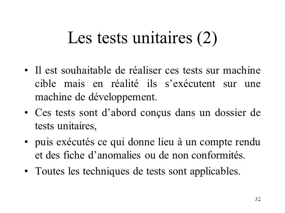 Les tests unitaires (2) Il est souhaitable de réaliser ces tests sur machine cible mais en réalité ils s'exécutent sur une machine de développement.