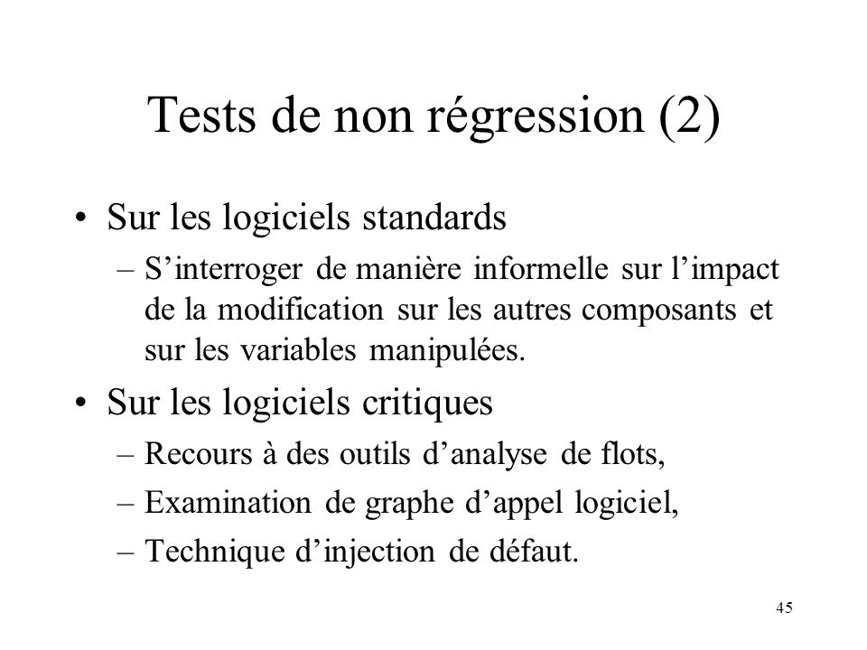 Tests de non régression (2)