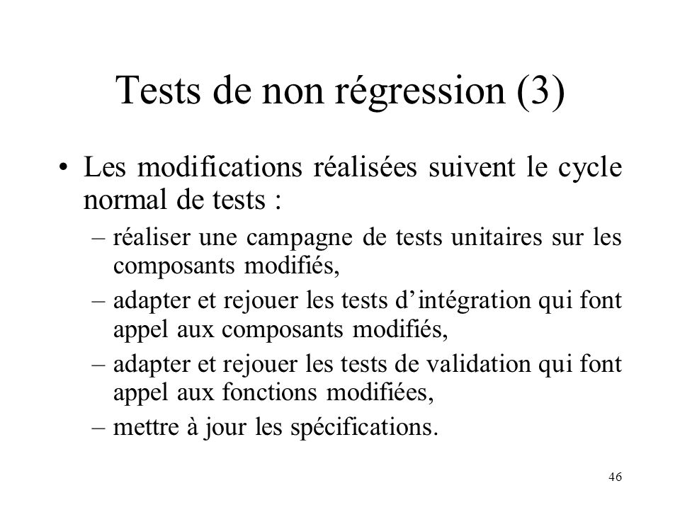 Tests de non régression (3)