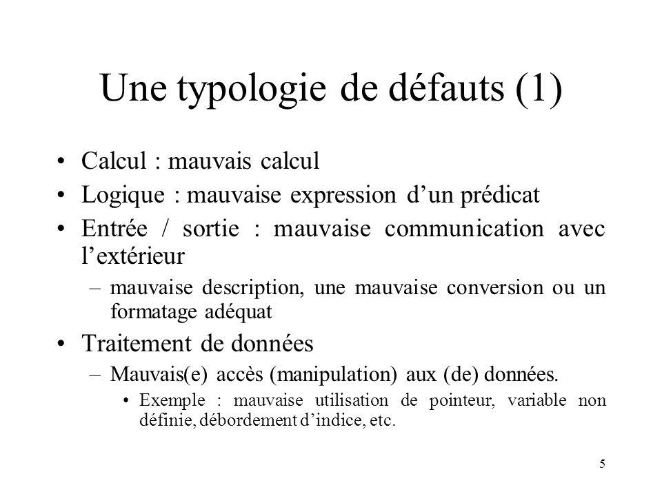 Une typologie de défauts (1)