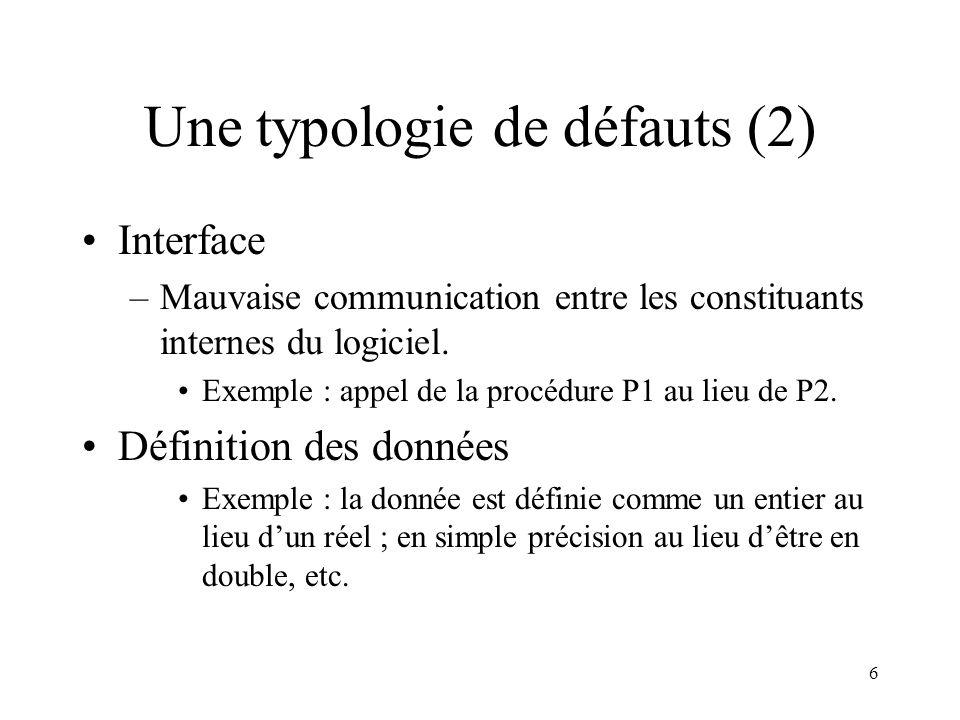 Une typologie de défauts (2)