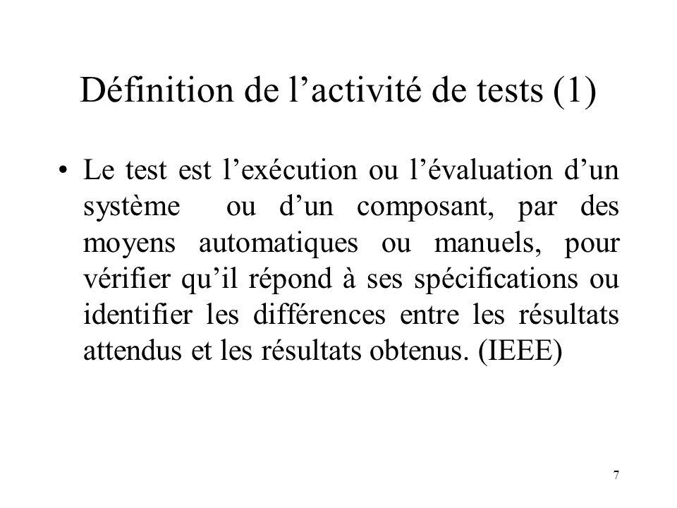 Définition de l'activité de tests (1)