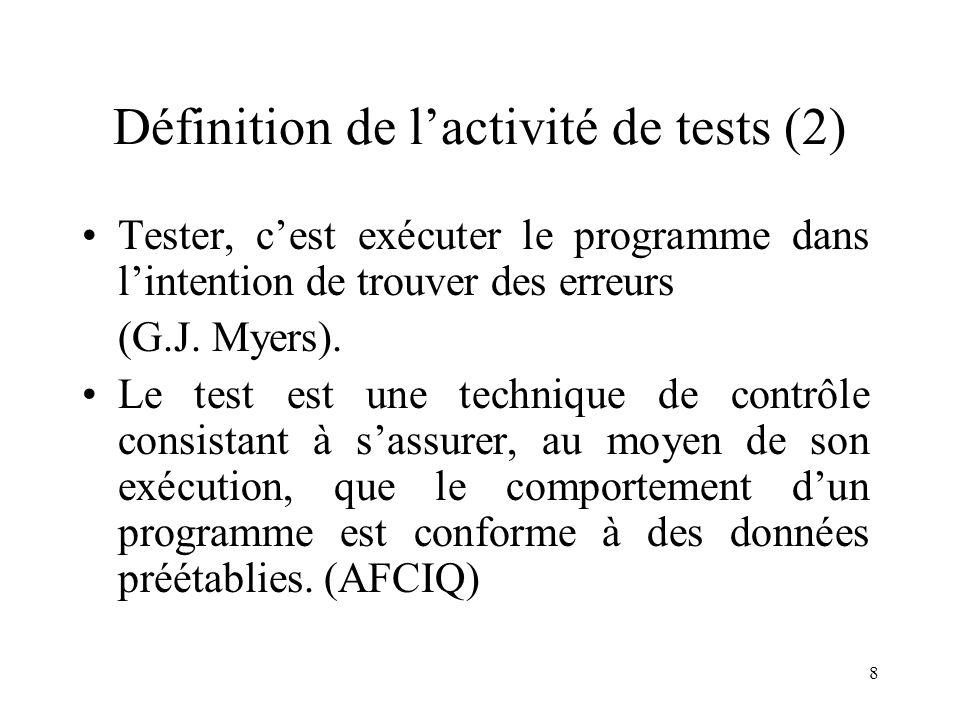 Définition de l'activité de tests (2)