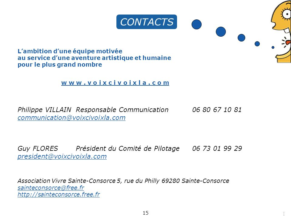 CONTACTS Philippe VILLAIN Responsable Communication 06 80 67 10 81