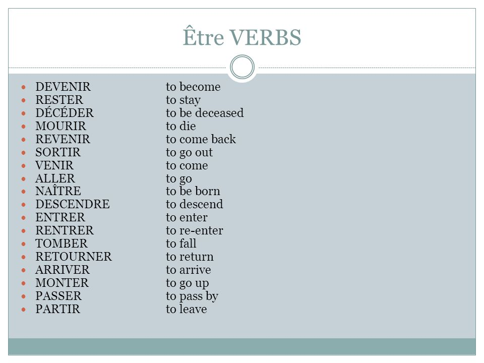 Être VERBS DEVENIR to become RESTER to stay DÉCÉDER to be deceased