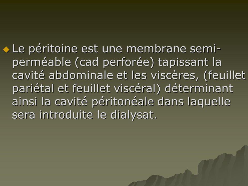Le péritoine est une membrane semi-perméable (cad perforée) tapissant la cavité abdominale et les viscères, (feuillet pariétal et feuillet viscéral) déterminant ainsi la cavité péritonéale dans laquelle sera introduite le dialysat.