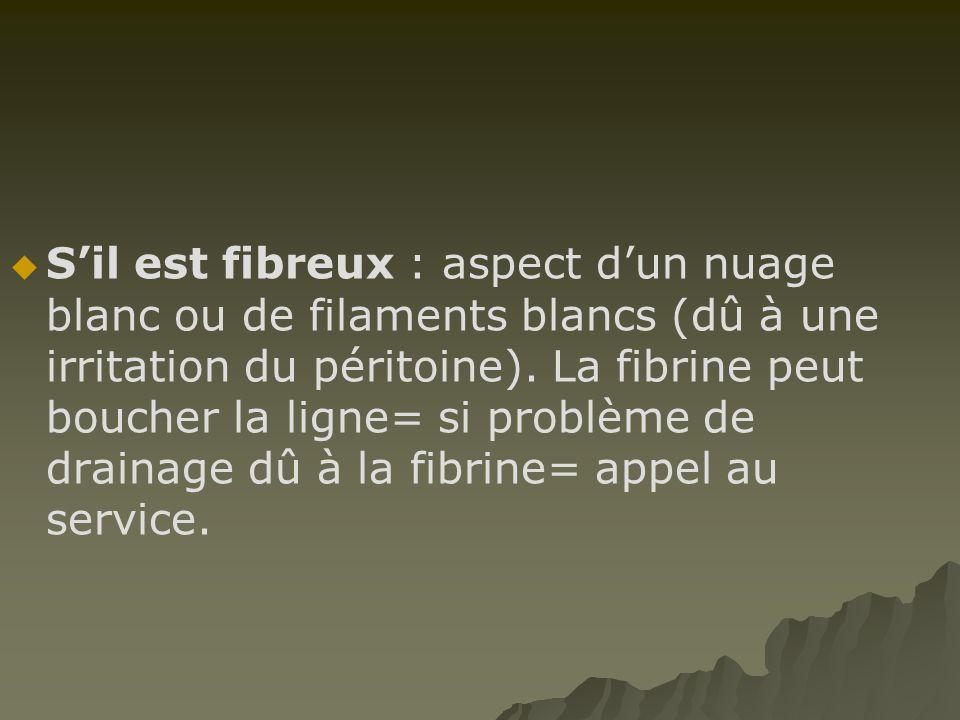 S'il est fibreux : aspect d'un nuage blanc ou de filaments blancs (dû à une irritation du péritoine).