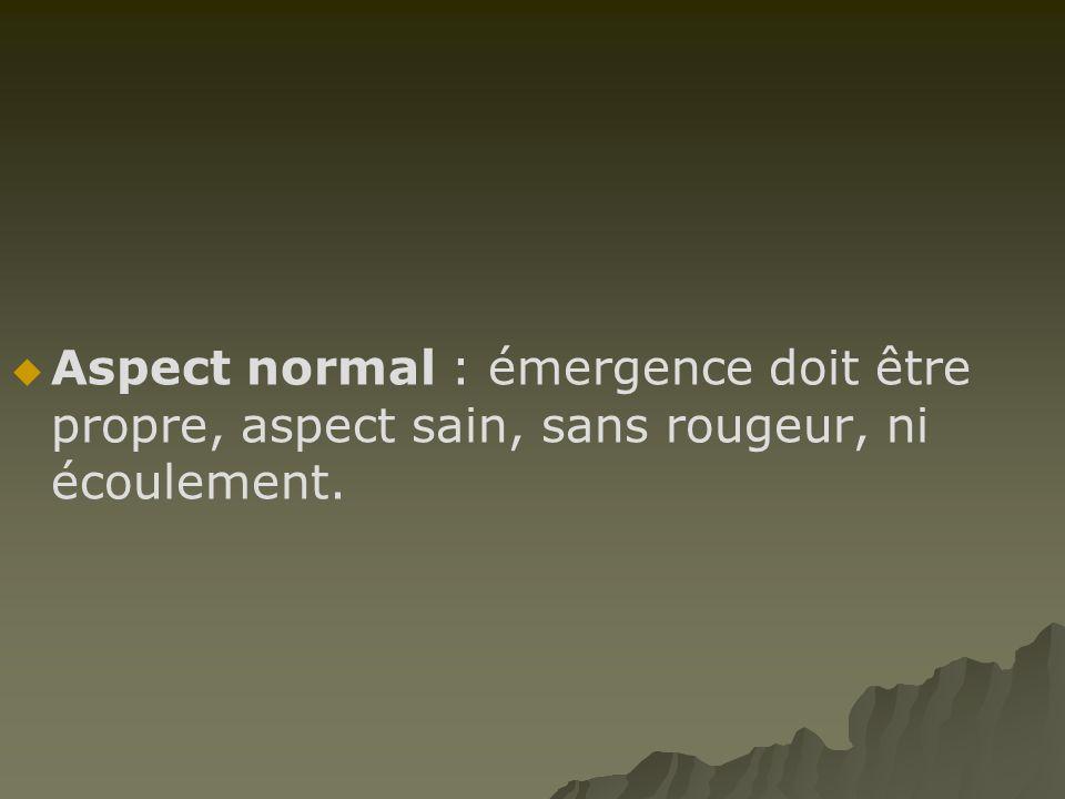 Aspect normal : émergence doit être propre, aspect sain, sans rougeur, ni écoulement.
