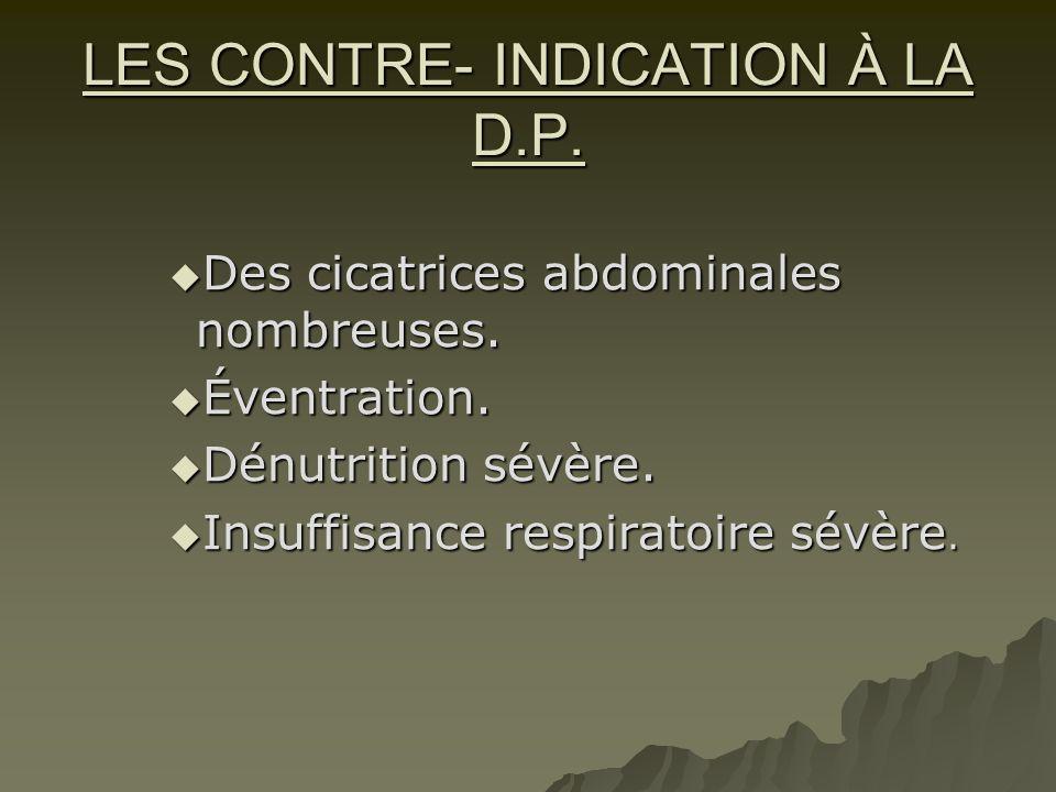 LES CONTRE- INDICATION À LA D.P.