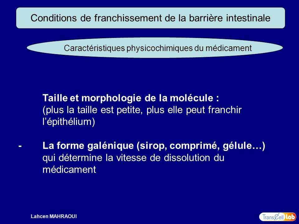 Conditions de franchissement de la barrière intestinale