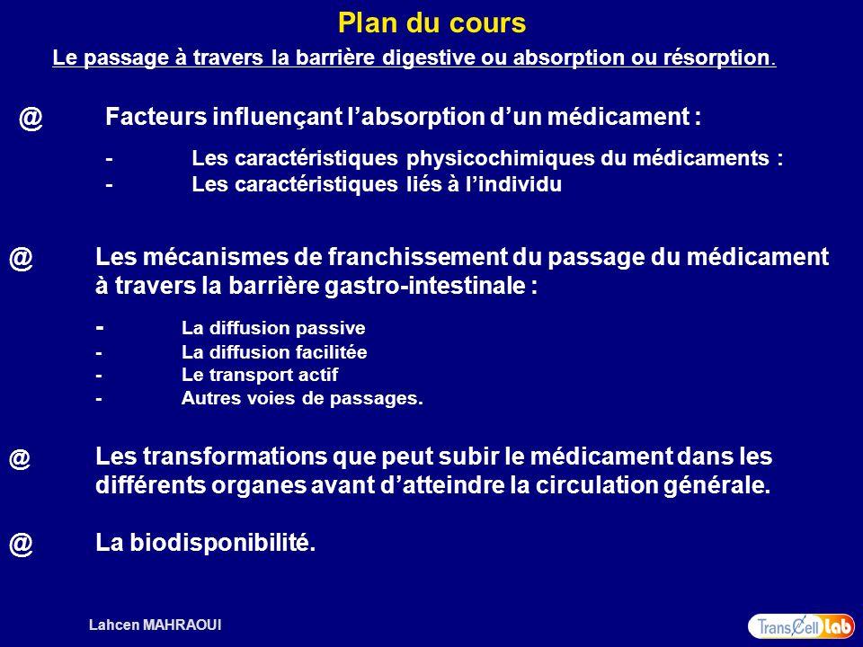 Plan du cours @ Facteurs influençant l'absorption d'un médicament :