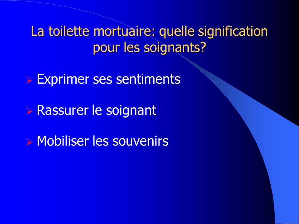 La toilette mortuaire: quelle signification pour les soignants