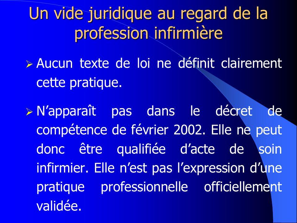 Un vide juridique au regard de la profession infirmière