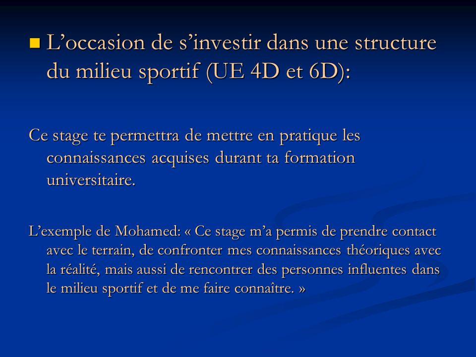 L'occasion de s'investir dans une structure du milieu sportif (UE 4D et 6D):