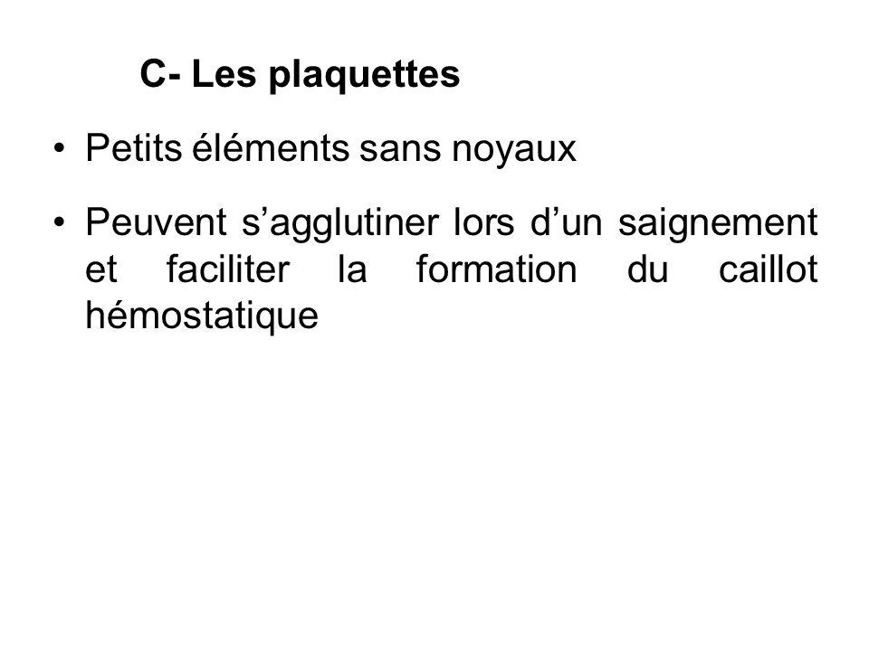 C- Les plaquettes Petits éléments sans noyaux.