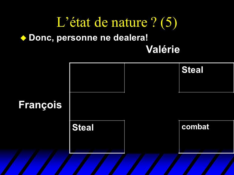 L'état de nature (5) Valérie François Donc, personne ne dealera!