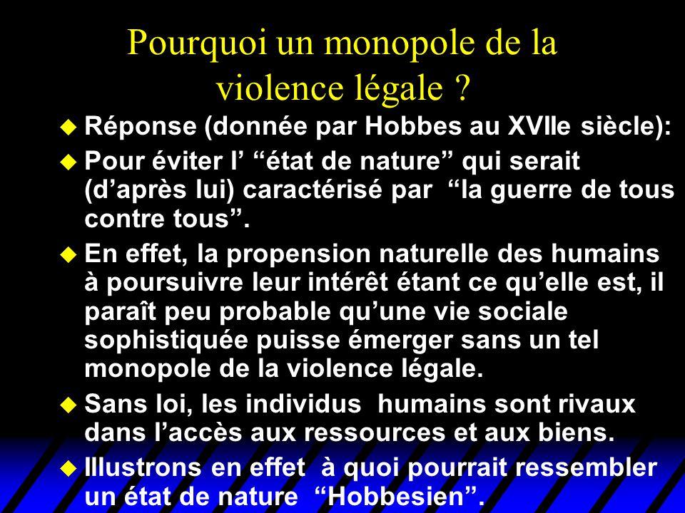 Pourquoi un monopole de la violence légale