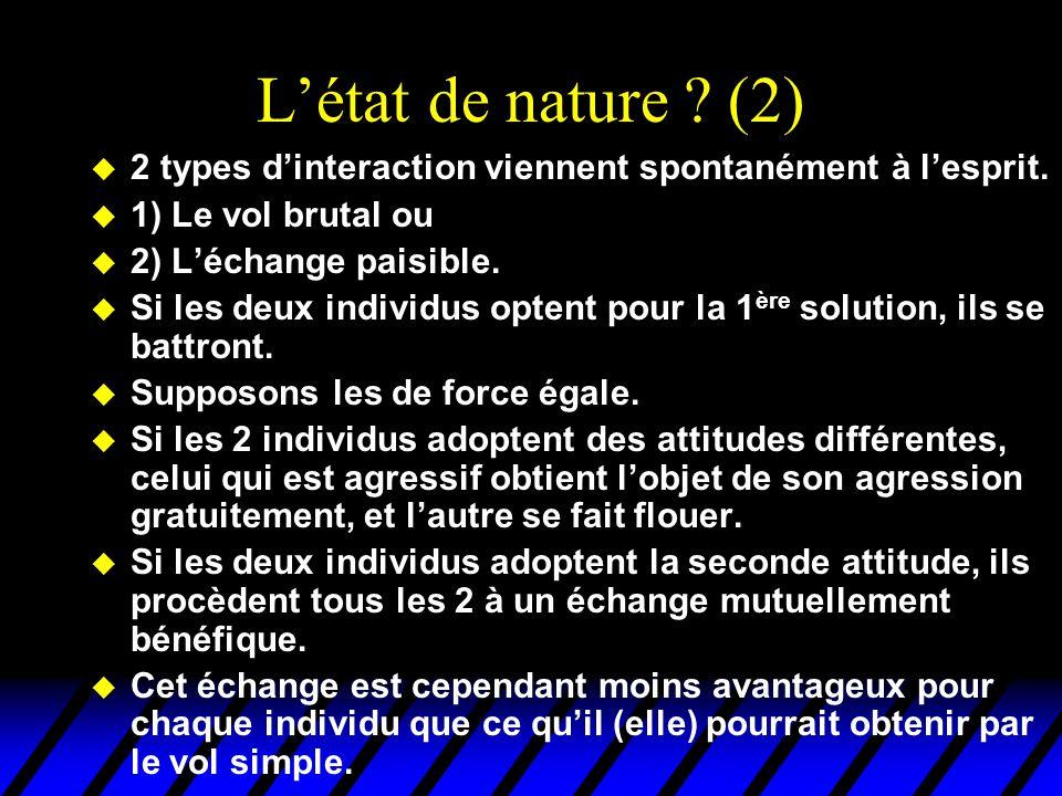L'état de nature (2) 2 types d'interaction viennent spontanément à l'esprit. 1) Le vol brutal ou.