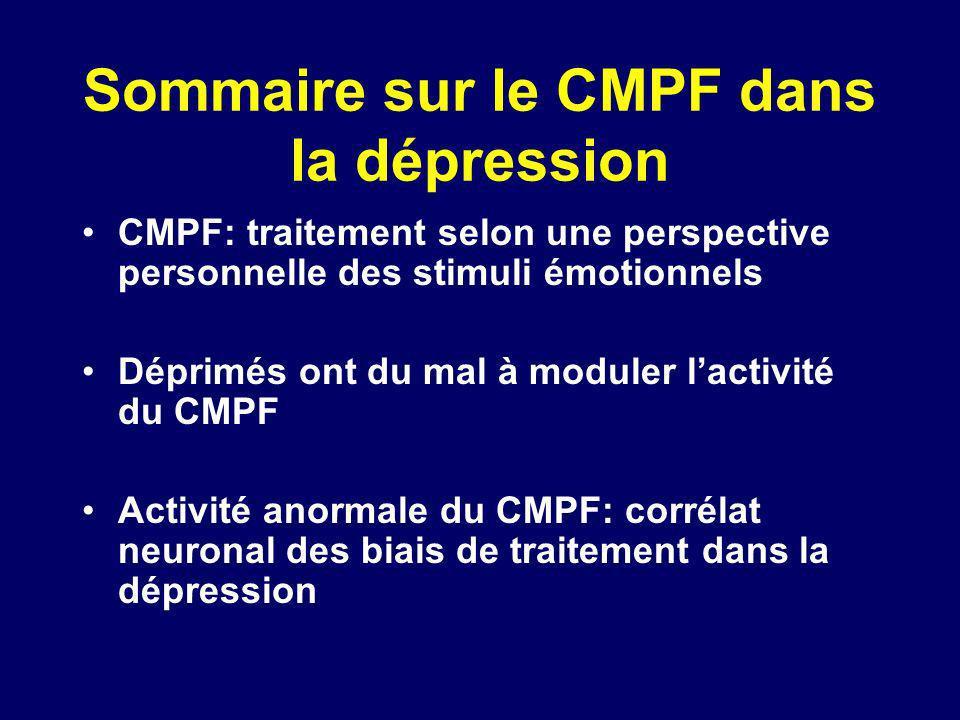 Sommaire sur le CMPF dans la dépression