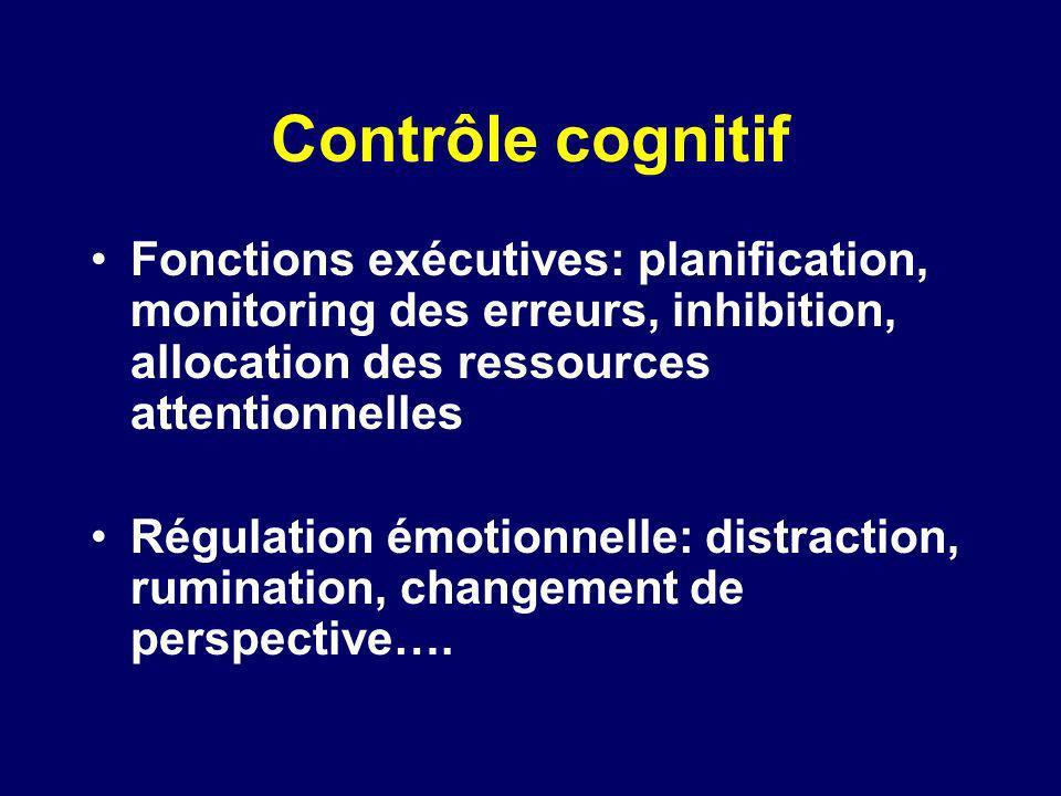 Contrôle cognitif Fonctions exécutives: planification, monitoring des erreurs, inhibition, allocation des ressources attentionnelles.