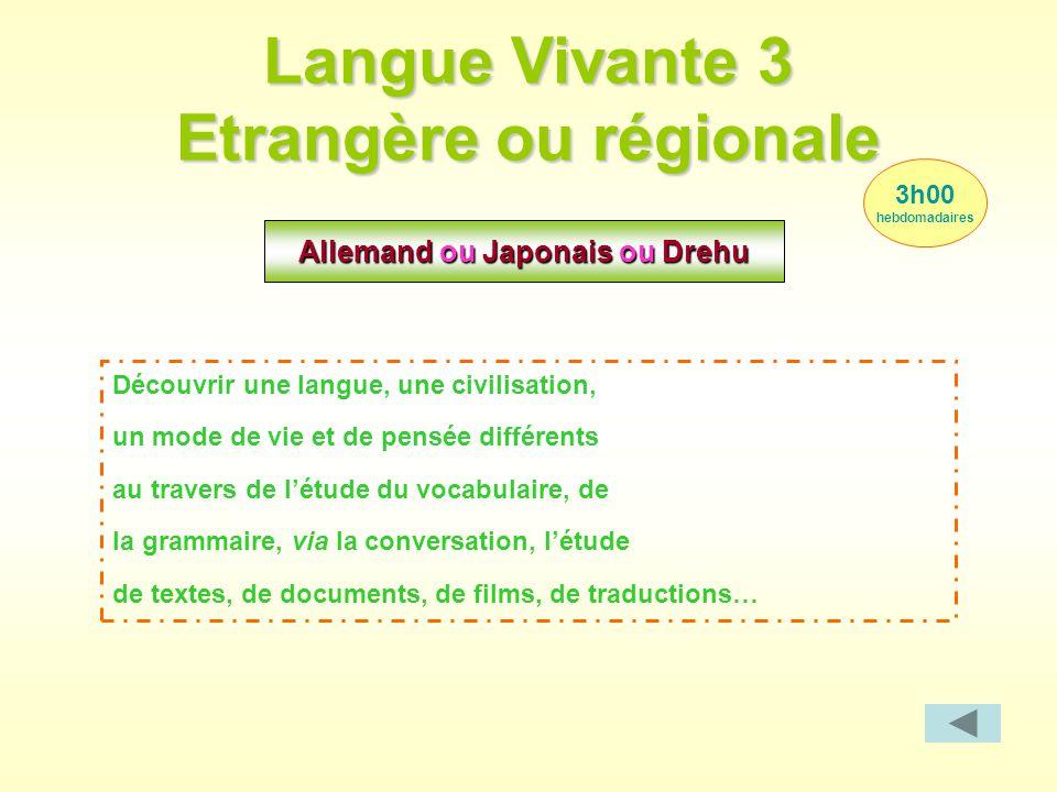 Langue Vivante 3 Etrangère ou régionale Allemand ou Japonais ou Drehu