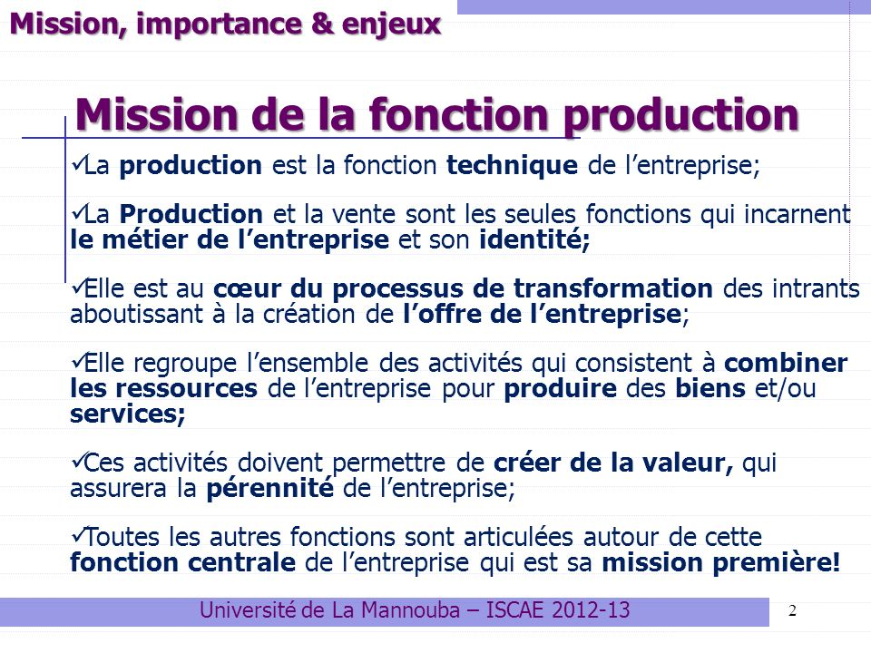 Mission de la fonction production