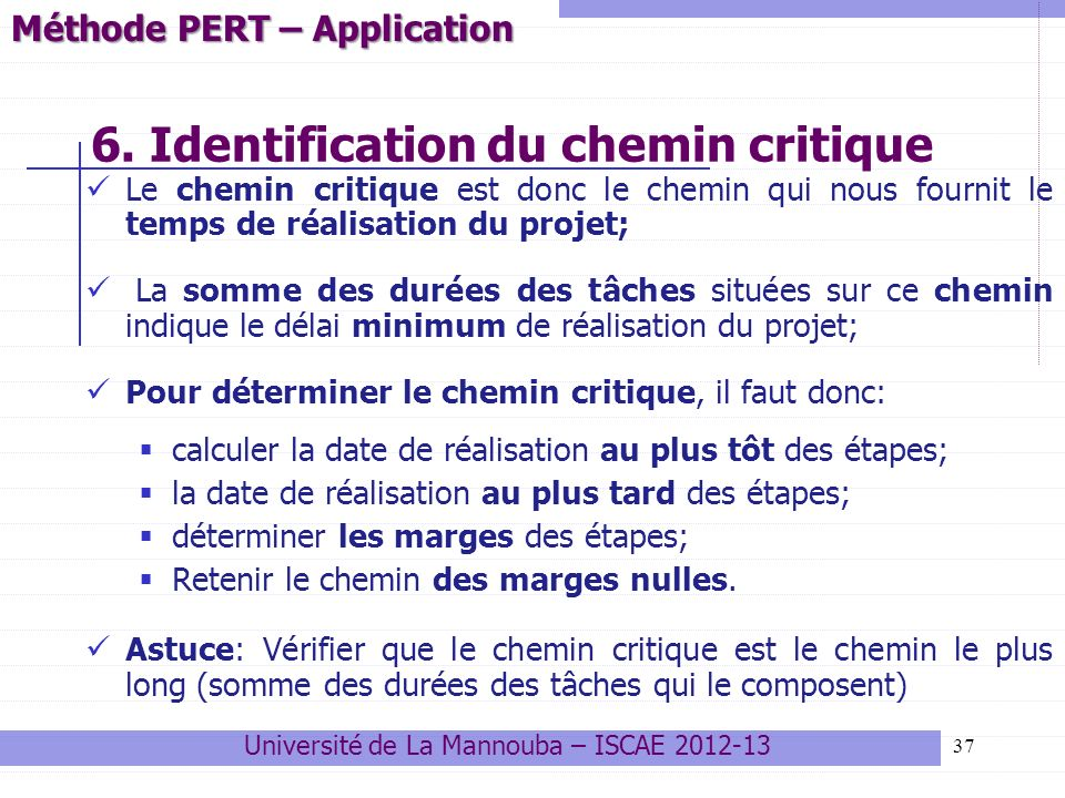 6. Identification du chemin critique