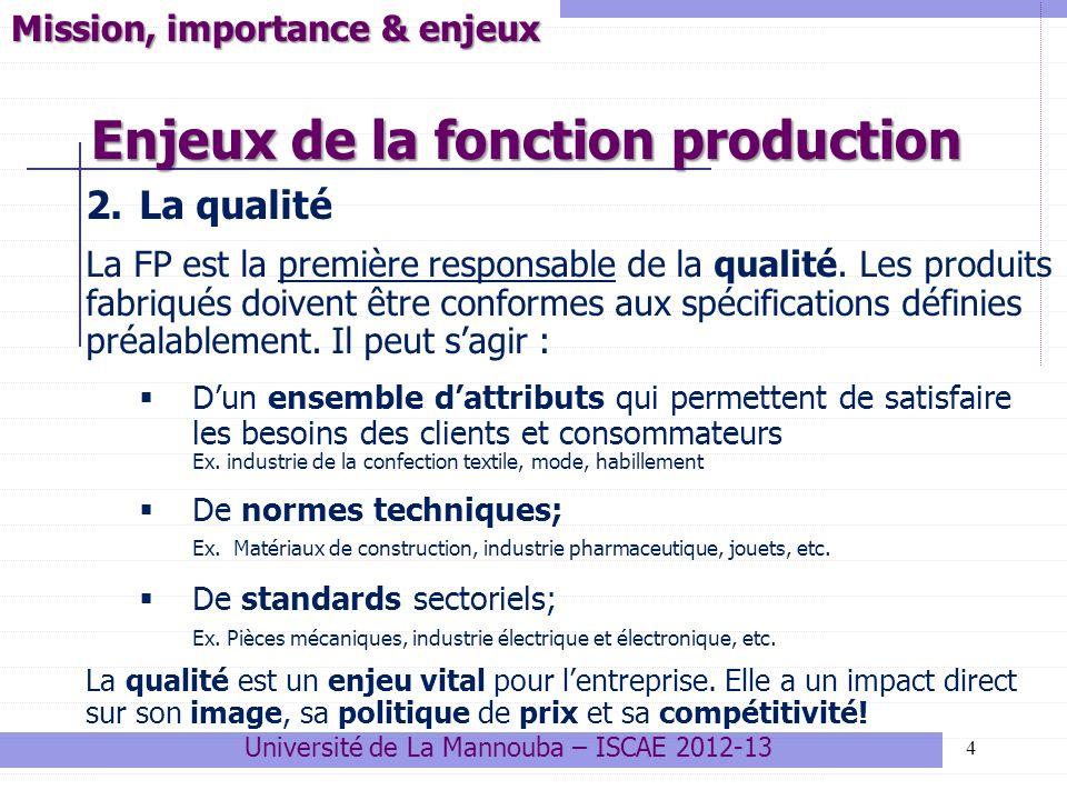 Enjeux de la fonction production