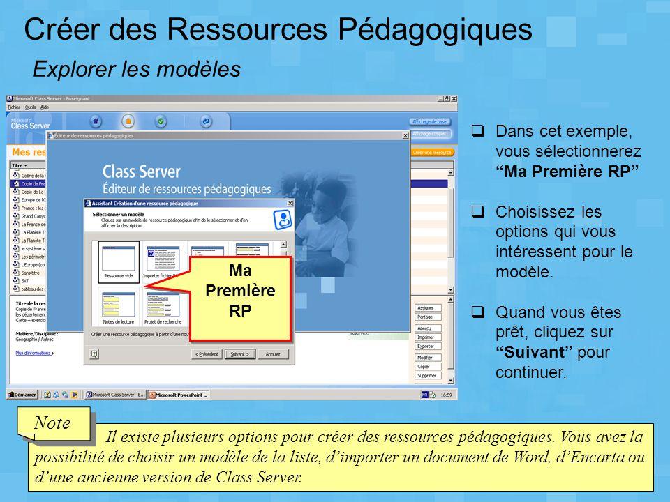 Créer des Ressources Pédagogiques Explorer les modèles