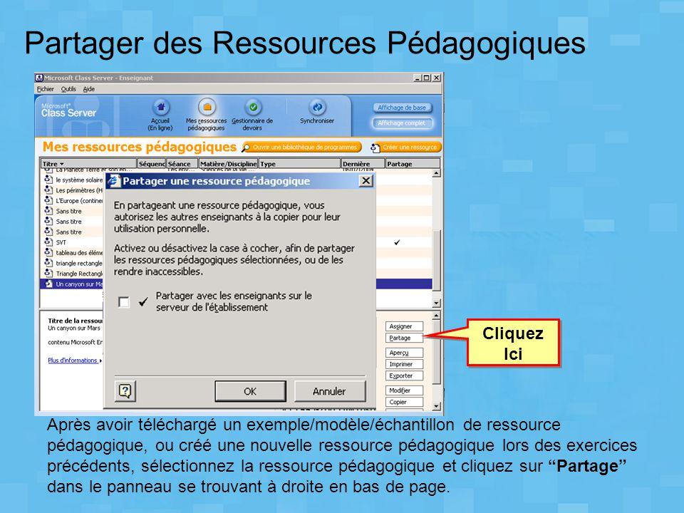 Partager des Ressources Pédagogiques
