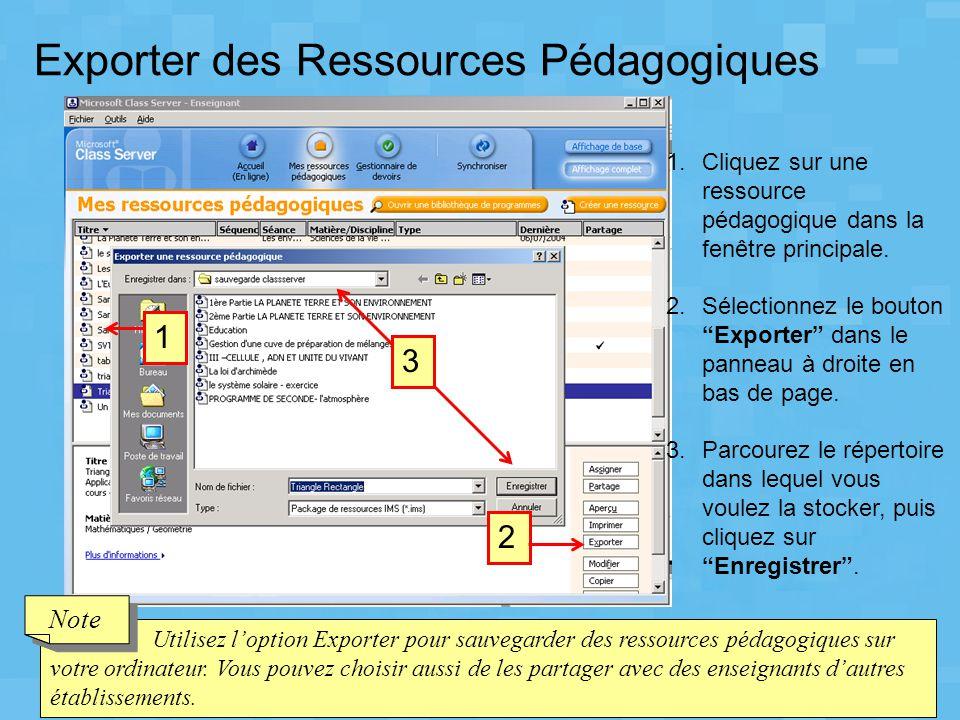 Exporter des Ressources Pédagogiques