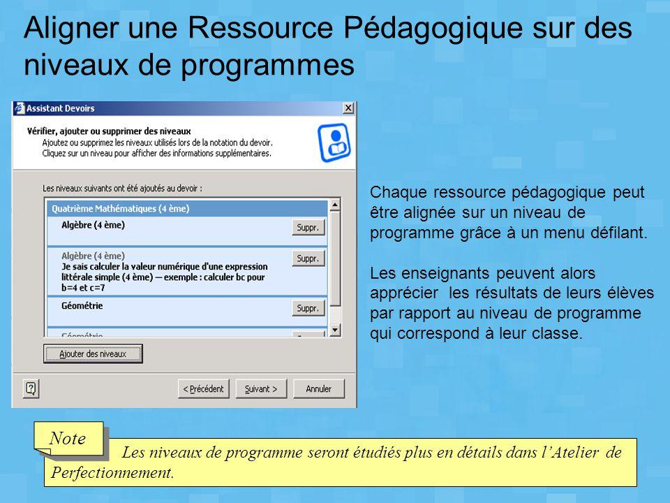Aligner une Ressource Pédagogique sur des niveaux de programmes