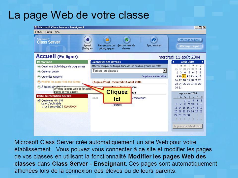 La page Web de votre classe