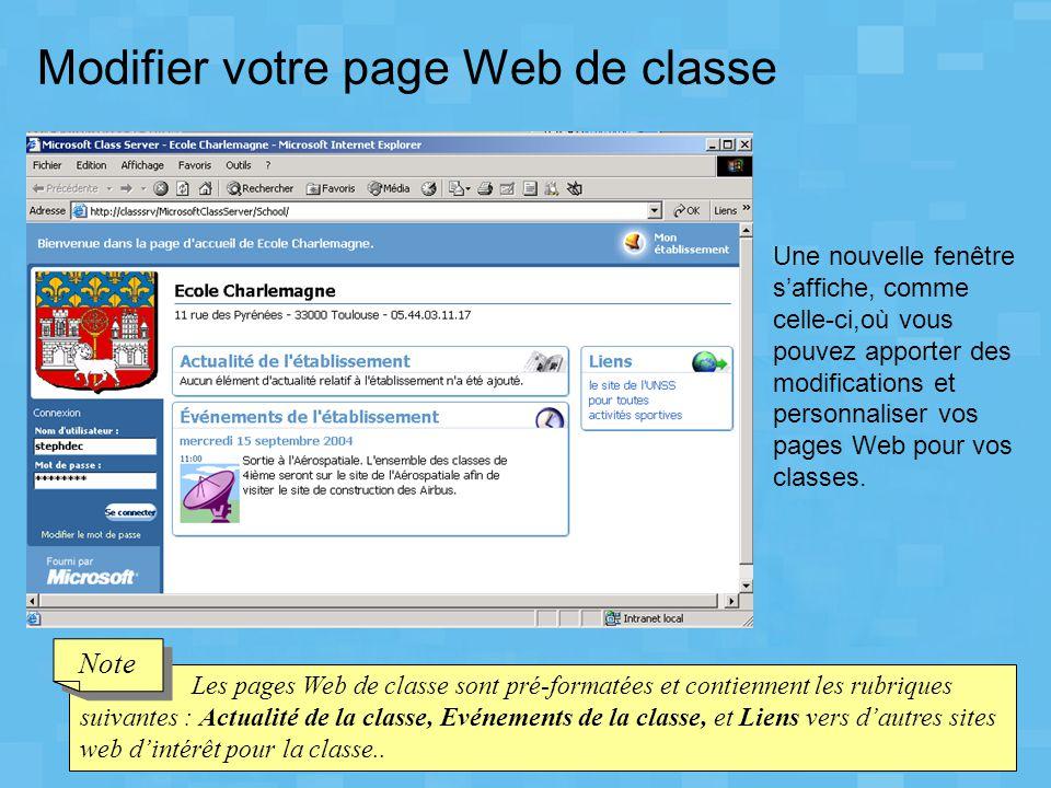 Modifier votre page Web de classe