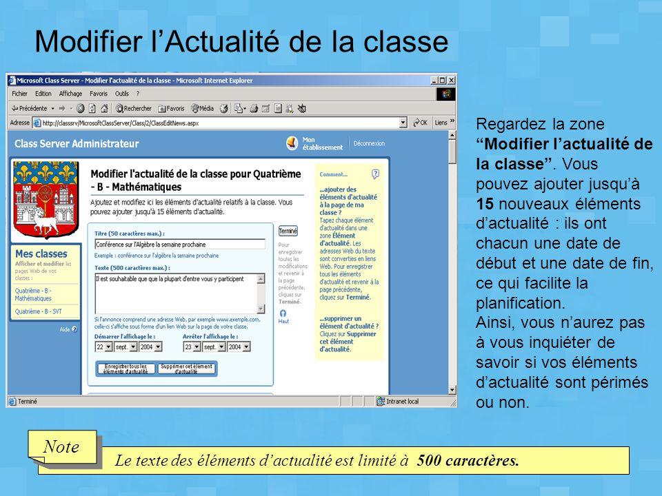 Modifier l'Actualité de la classe