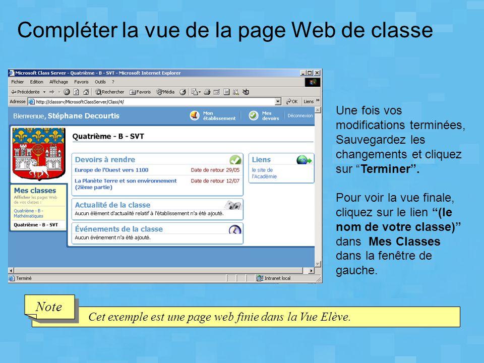 Compléter la vue de la page Web de classe
