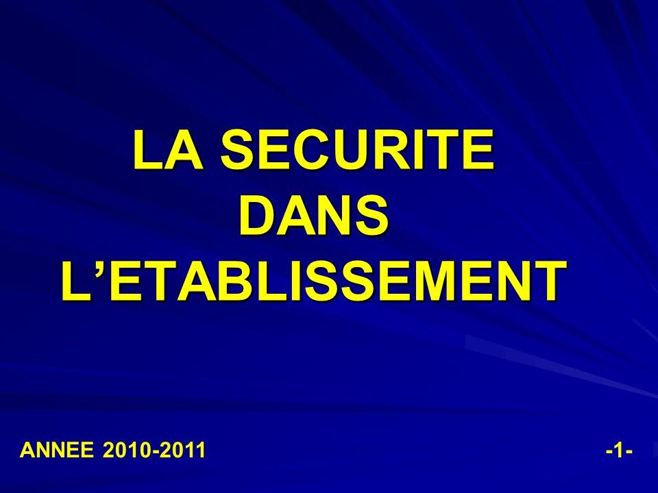 LA SECURITE DANS L'ETABLISSEMENT