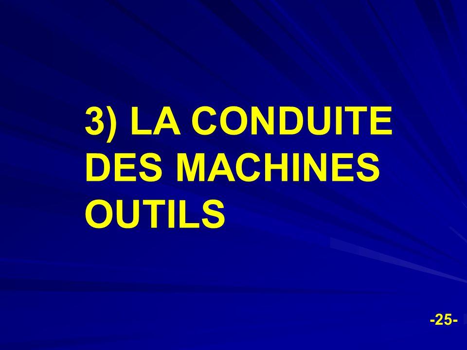 3) LA CONDUITE DES MACHINES OUTILS