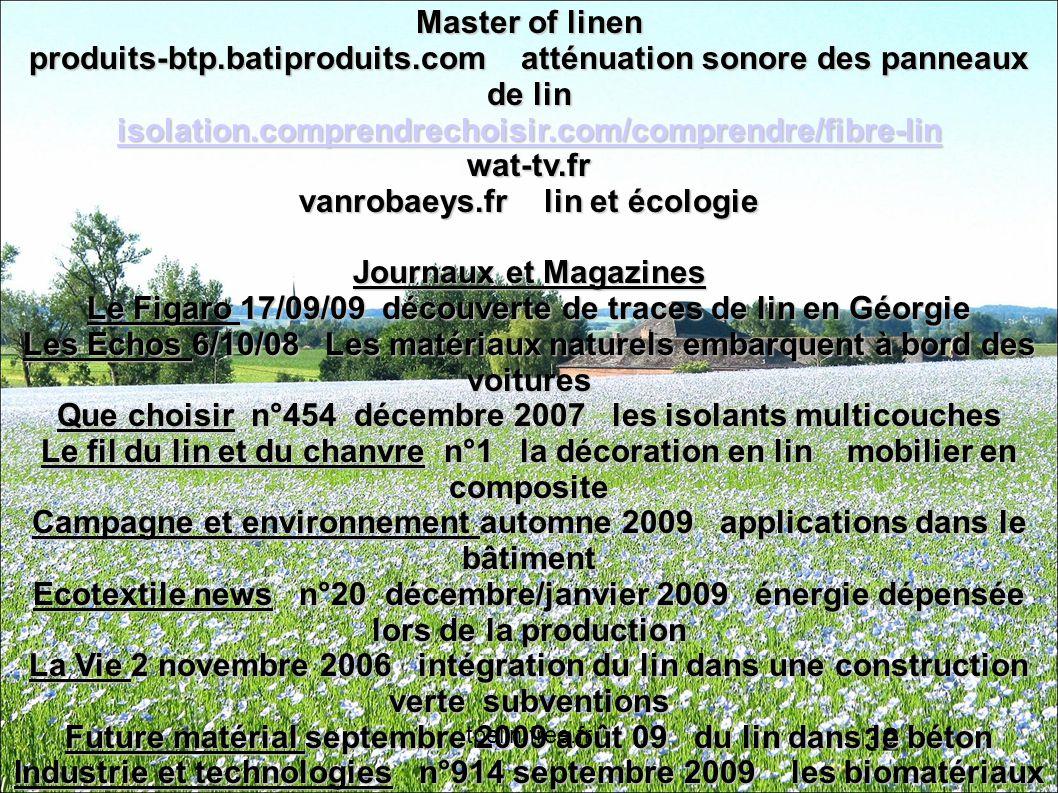 Master of linen produits-btp. batiproduits
