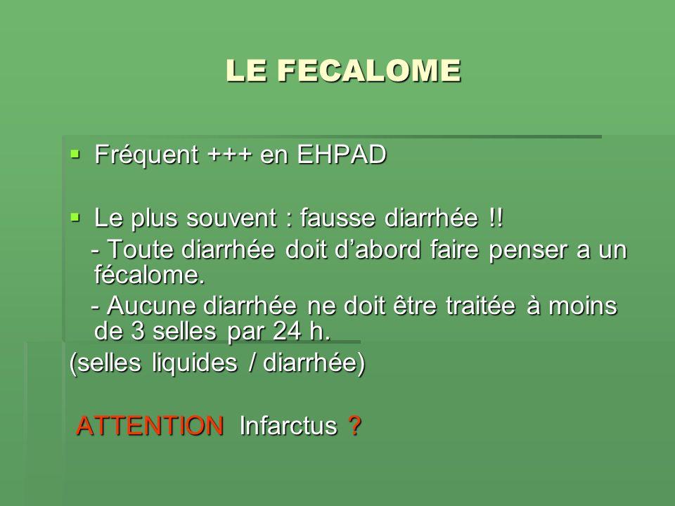LE FECALOME Fréquent +++ en EHPAD Le plus souvent : fausse diarrhée !!
