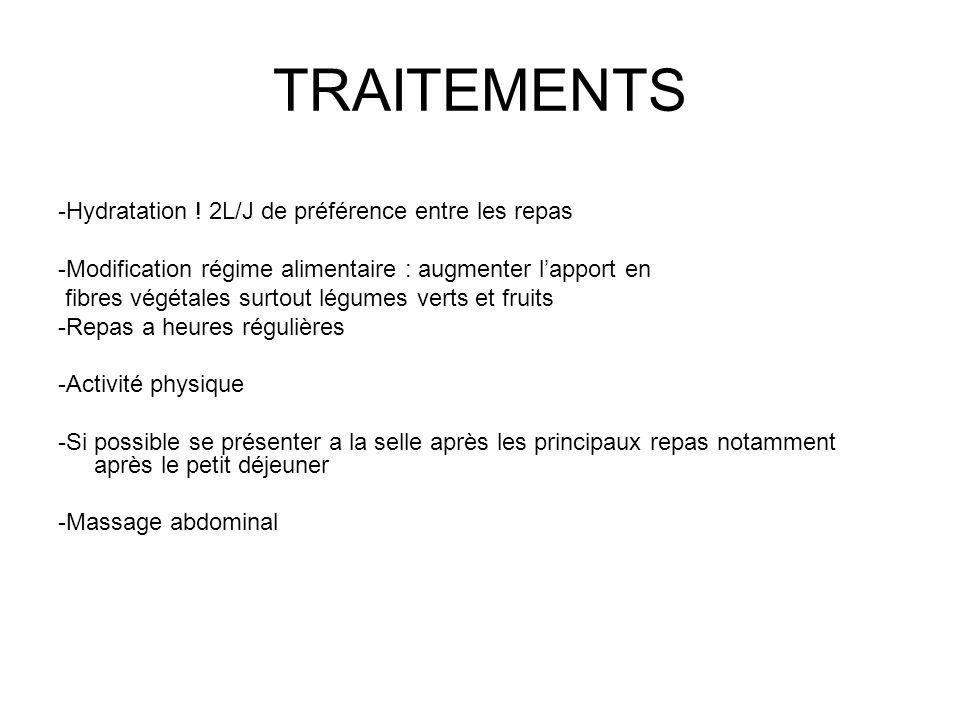 TRAITEMENTS -Hydratation ! 2L/J de préférence entre les repas