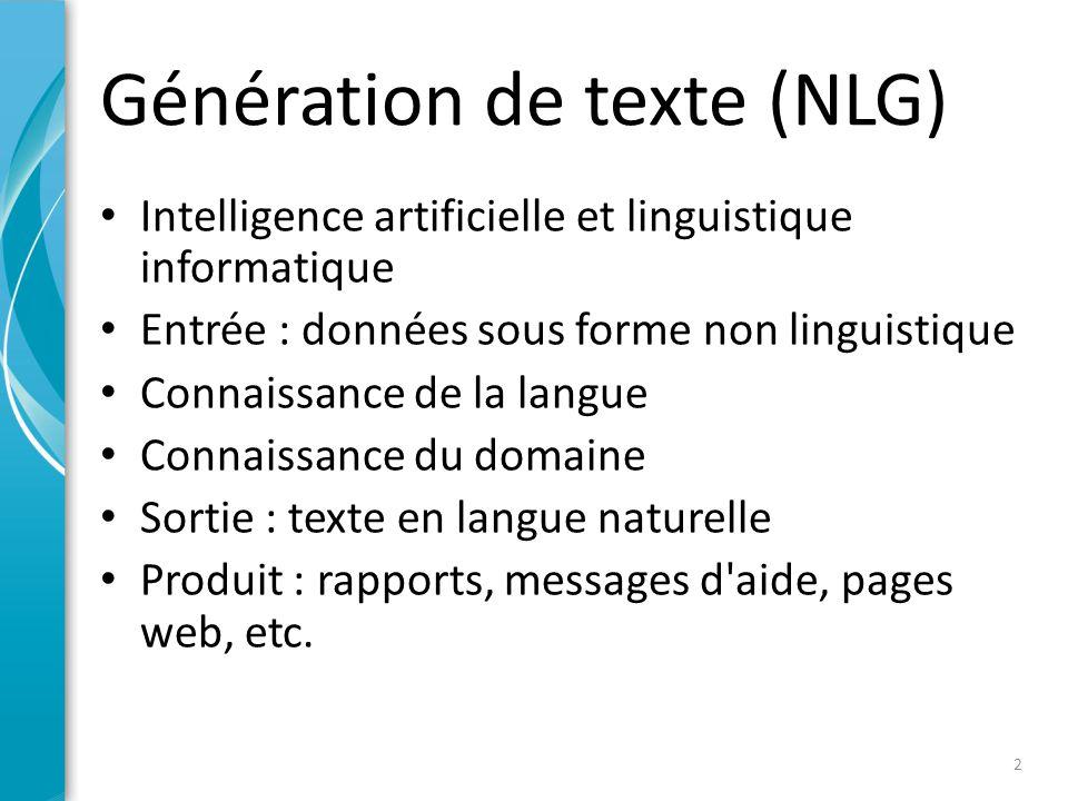 Applications de NLG Rapports et bulletins météorologiques