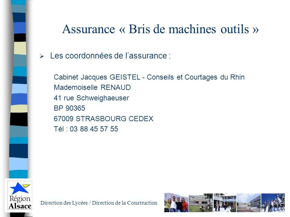 Assurance « Bris de machines outils »
