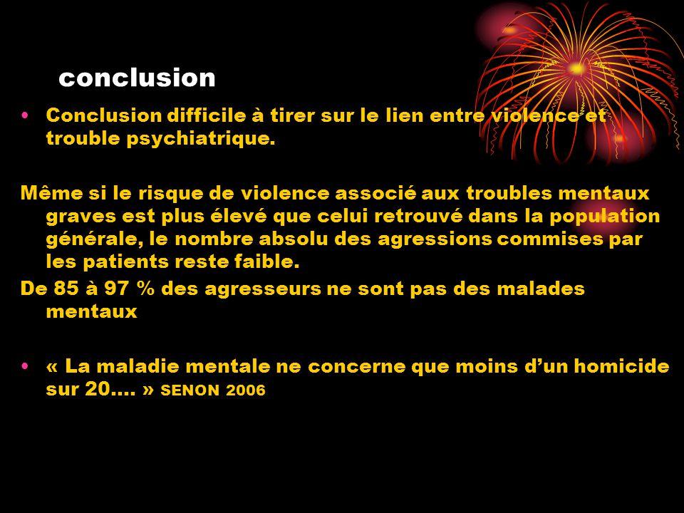 conclusion Conclusion difficile à tirer sur le lien entre violence et trouble psychiatrique.
