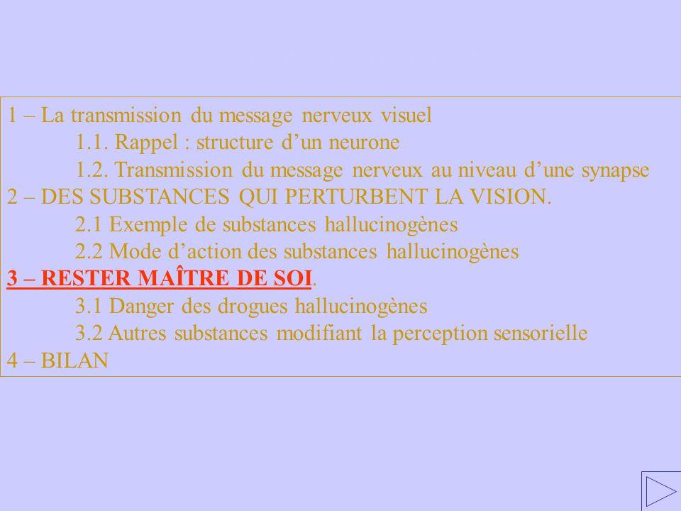 3 – RESTER MAÎTRE DE SOI 1 – La transmission du message nerveux visuel. 1.1. Rappel : structure d'un neurone.