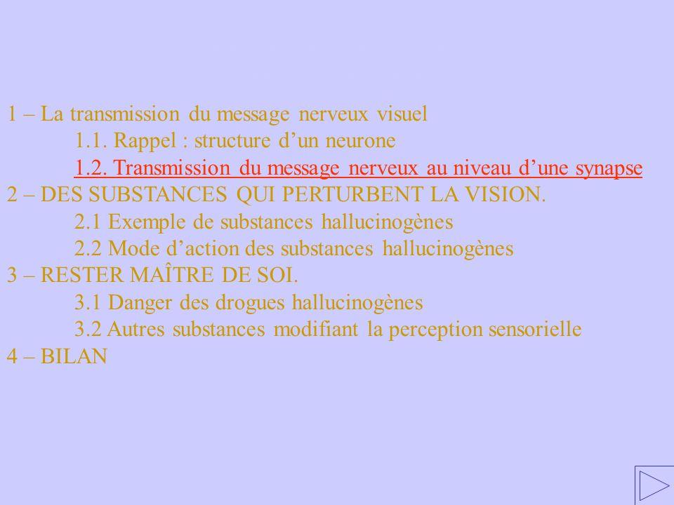 1.2 Transmission du message nerveux au niveau d'une synapse