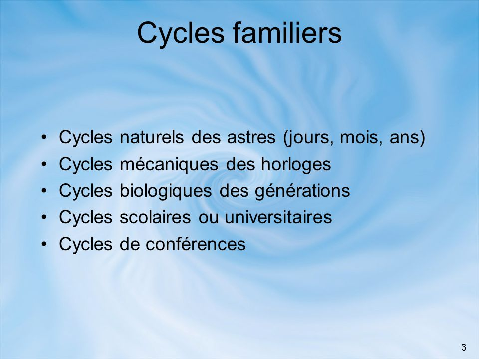 Cycles familiers Cycles naturels des astres (jours, mois, ans)