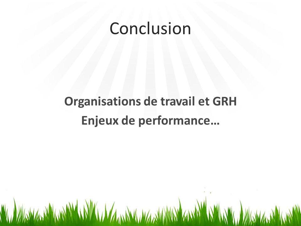 Organisations de travail et GRH Enjeux de performance…