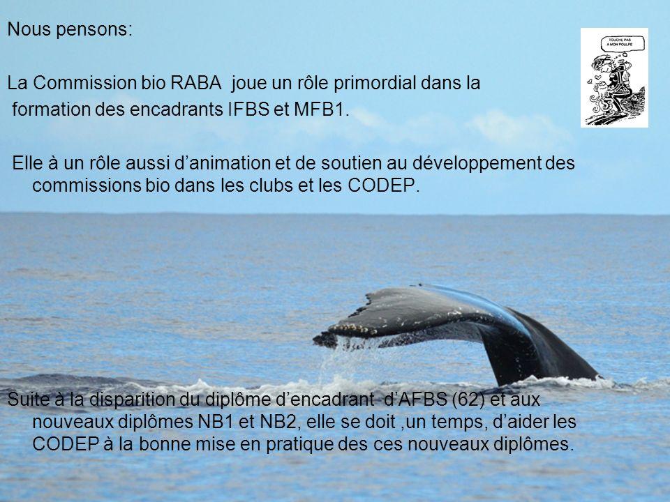 Nous pensons:La Commission bio RABA joue un rôle primordial dans la. formation des encadrants IFBS et MFB1.