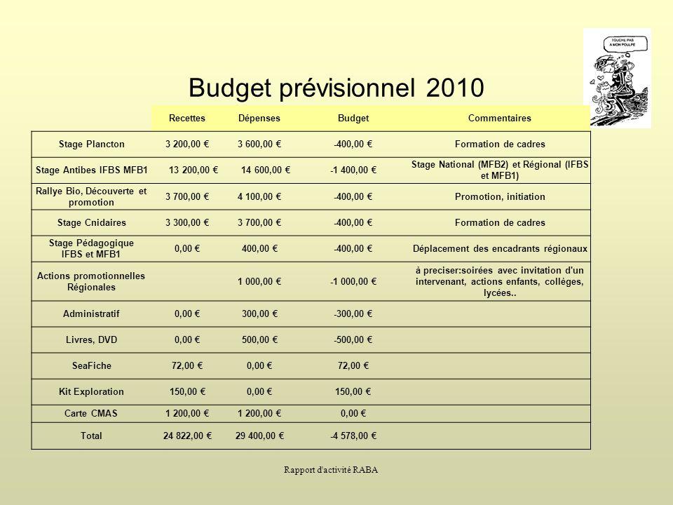 Budget prévisionnel 2010 Recettes Dépenses Budget Commentaires